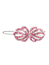 Blossom Swarovski Hair Clip / Dog Barrette - This hair clip could be a bow but it could be a flower, we think it looks like a new flower that has just blossomed. Encrusted with 65 small pink Swarovski crystals, 4 larger pink crystals and one clear crystal centre piece. Measures approx. 3/4'' - 2cm wide.