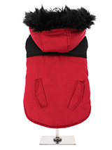 Red on Black Two Tone Parka - This two toned Parka coat is cosy and stylish and bang on trend. It has a faux fur trimmed hood and is fleece lined to keep your dog snug and warm. Perfect for the dog that likes a bit of rough and tumble, a quality, multi-layered piece of clothing that will keep the heat in and the cold out. Our cl...
