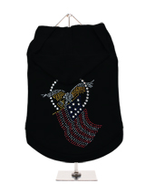 GlamourGlitz American Spirit Dog Hoodie - Exclusive GlamourGlitz 100% Cotton Hoodie. Embellished with the American Eagle swooping down and clutching the Stars and Stripes, symbolizing the Spirit of America. Crafted with Red, Silver and Blue Rhinestuds that catch a sparkle in the light. Wear on it's own or match with a GlamourGlitz ''Mommy a...
