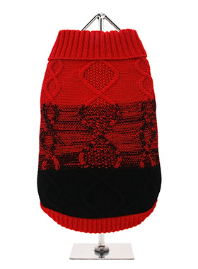 Donegal Red & Black Ribbed Sweater